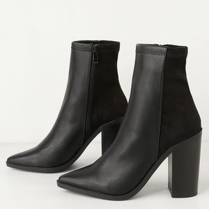 Black suede/leather heeled bootie